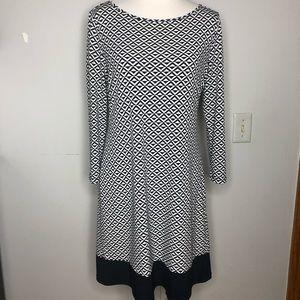 Ivanka Trump Geometric Black White Shift Dress
